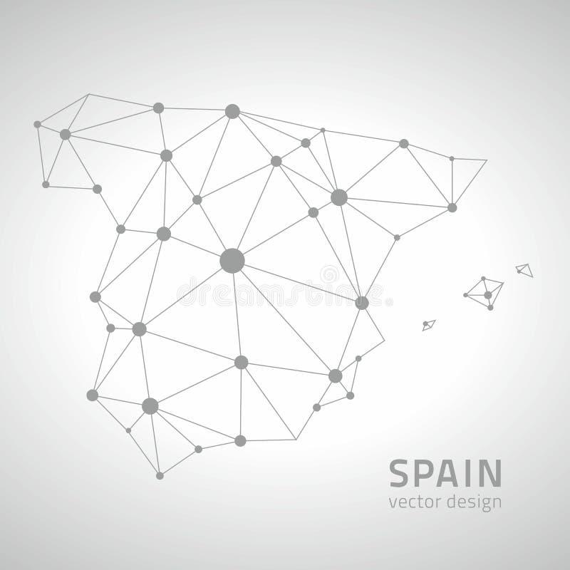Carte grise et blanche de triangle de perspective de point d'ensemble de l'Espagne de vecteur illustration de vecteur