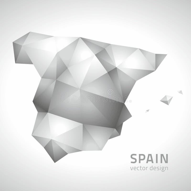 Carte grise polygonale du vecteur 3d de mosaïque de l'Espagne illustration de vecteur