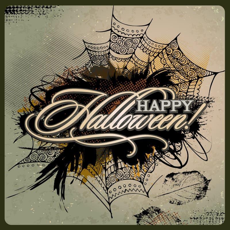 Carte grunge de conception de Halloween de vecteur abstrait illustration libre de droits