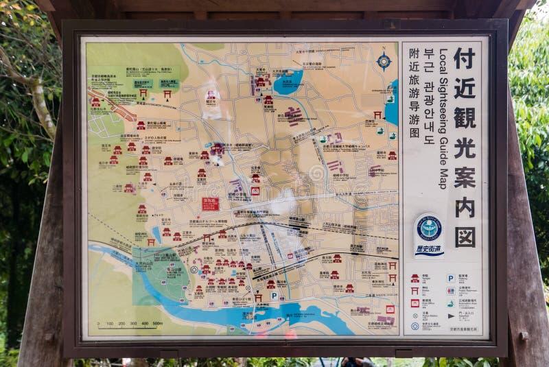 Carte guidée locale de guide à la forêt en bambou d'Arashiyama image libre de droits