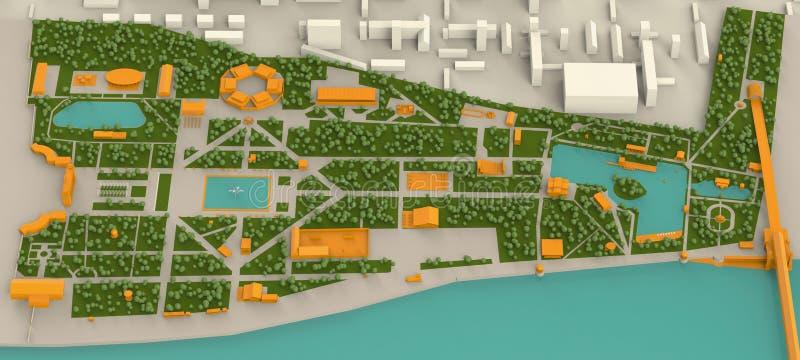 Carte haut détaillée de trois dimensions de parc de Moscou Gorki et illustration libre de droits