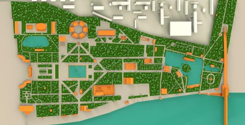Carte haut détaillée de trois dimensions de parc de Moscou Gorki et illustration stock