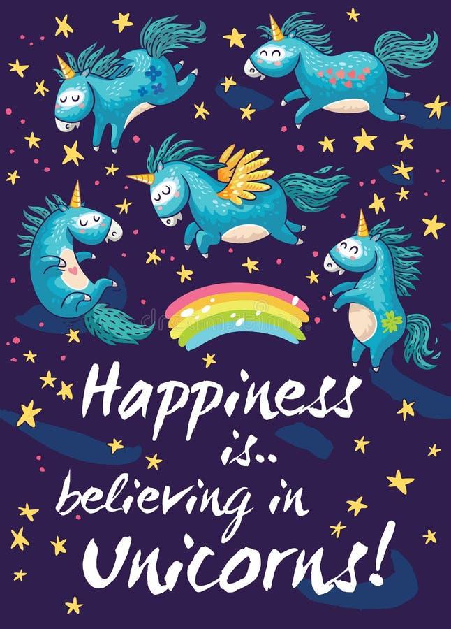 Carte heureuse avec les licornes mignonnes Illustration de dessin animé de vecteur illustration stock