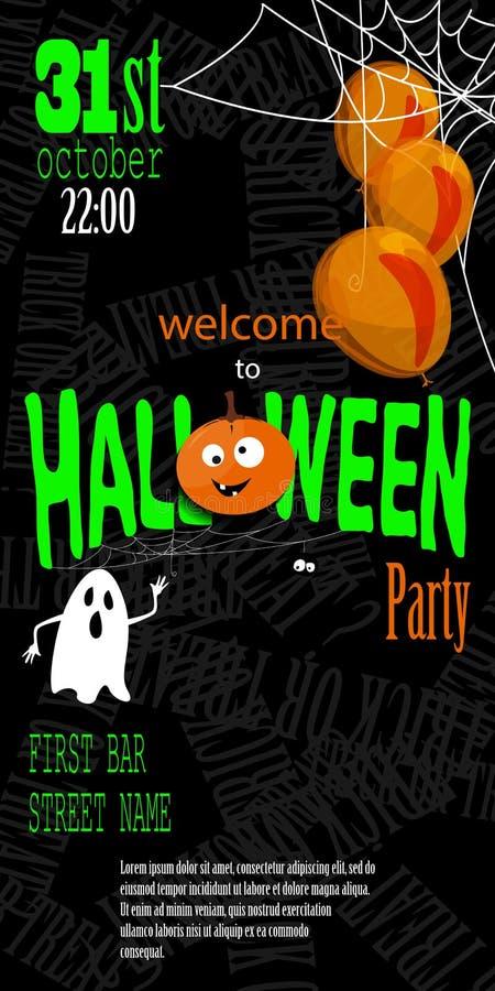 Carte heureuse d'invitation de Halloween avec de la toile d'araignée et le texte illustration de vecteur