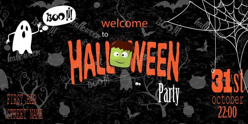Carte heureuse d'invitation de Halloween avec de la toile d'araignée et le texte illustration stock