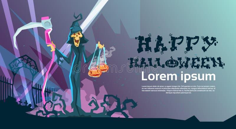 Download Carte Heureuse D'invitation De Partie De Halloween De Faux De Prise De Faucheuse Illustration de Vecteur - Illustration du monstre, plat: 77157183