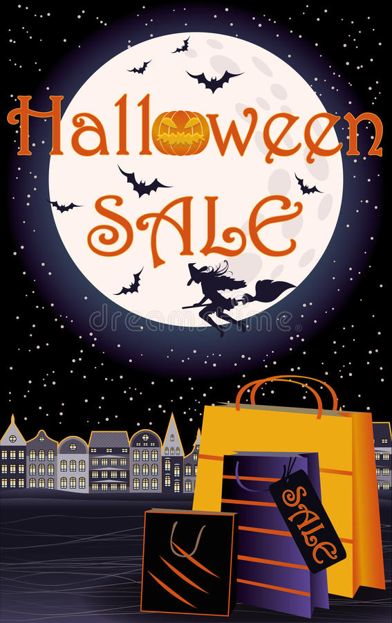 Carte heureuse de boutique d'invitation de vente de Halloween illustration libre de droits