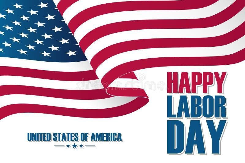 Carte heureuse de célébration de Fête du travail avec onduler le drapeau national des Etats-Unis illustration stock