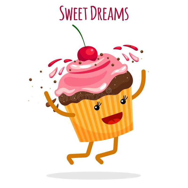 Carte heureuse de charcter de petit gâteau illustration de vecteur