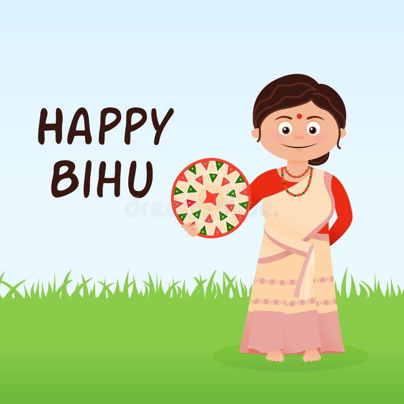 Carte heureuse de festival de Bihu illustration stock