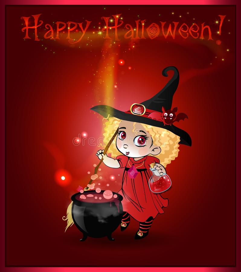 Carte heureuse de Halloween avec la petite fille de sorcière avec le balai et le chaudron sur le fond rouge illustration stock