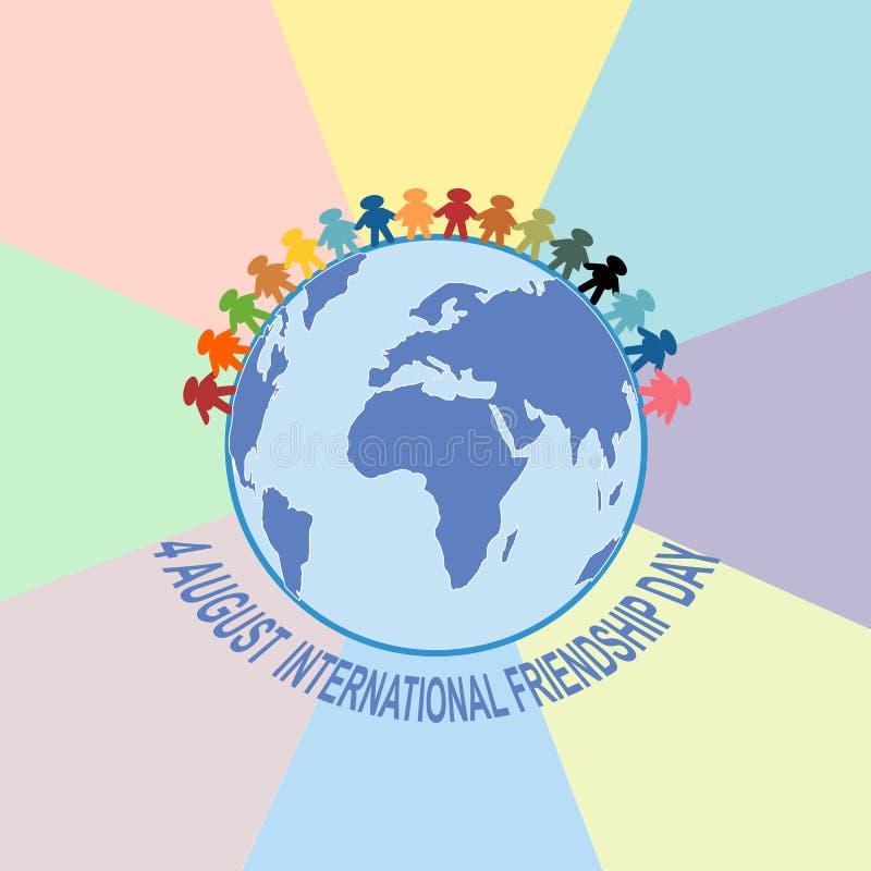 Carte heureuse de jour d'amitié 4 août illustration libre de droits