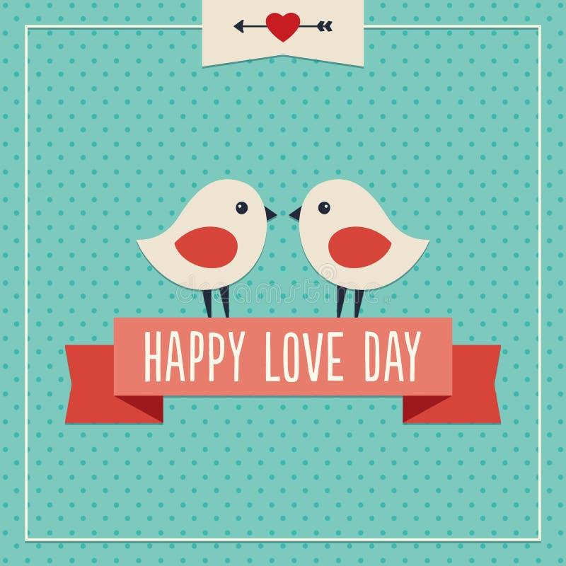 Carte heureuse de jour d'amour avec deux oiseaux mignons illustration stock