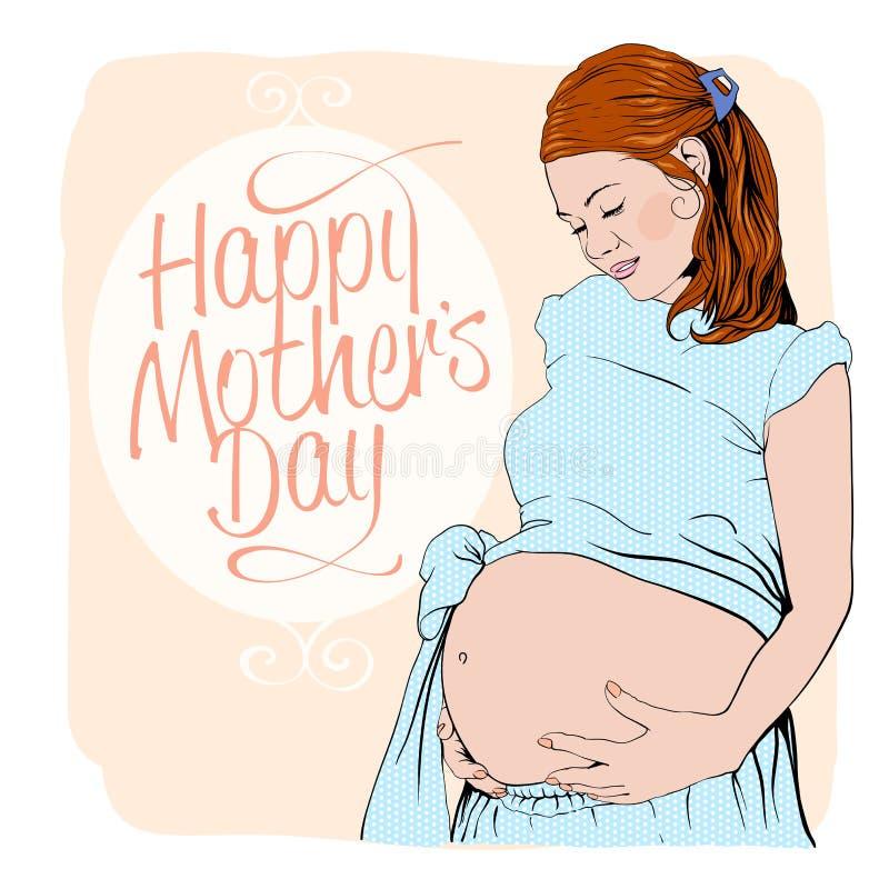 Carte heureuse de jour de mères avec le portrait graphique d'une femme enceinte illustration de vecteur