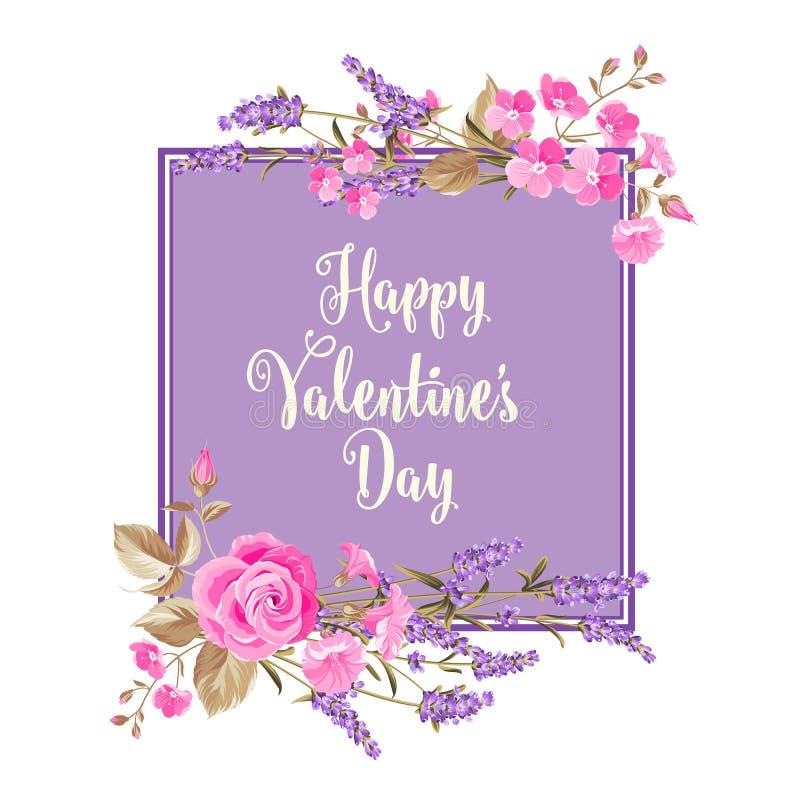 Carte heureuse de jour de valentines illustration de vecteur