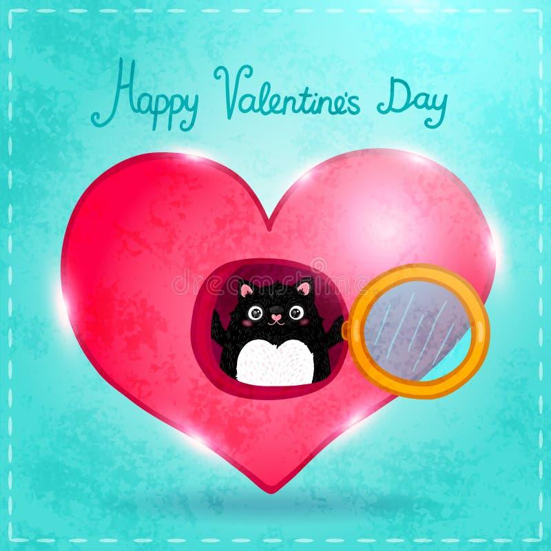 Carte heureuse de jour de valentines avec le chat illustration libre de droits
