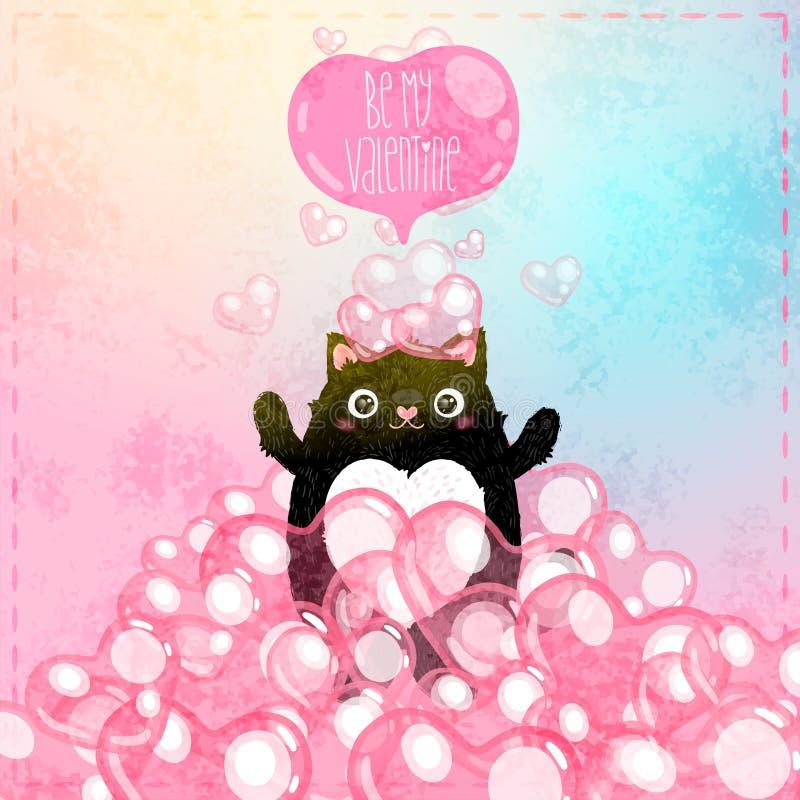 Carte heureuse de jour de valentines avec le chat illustration stock