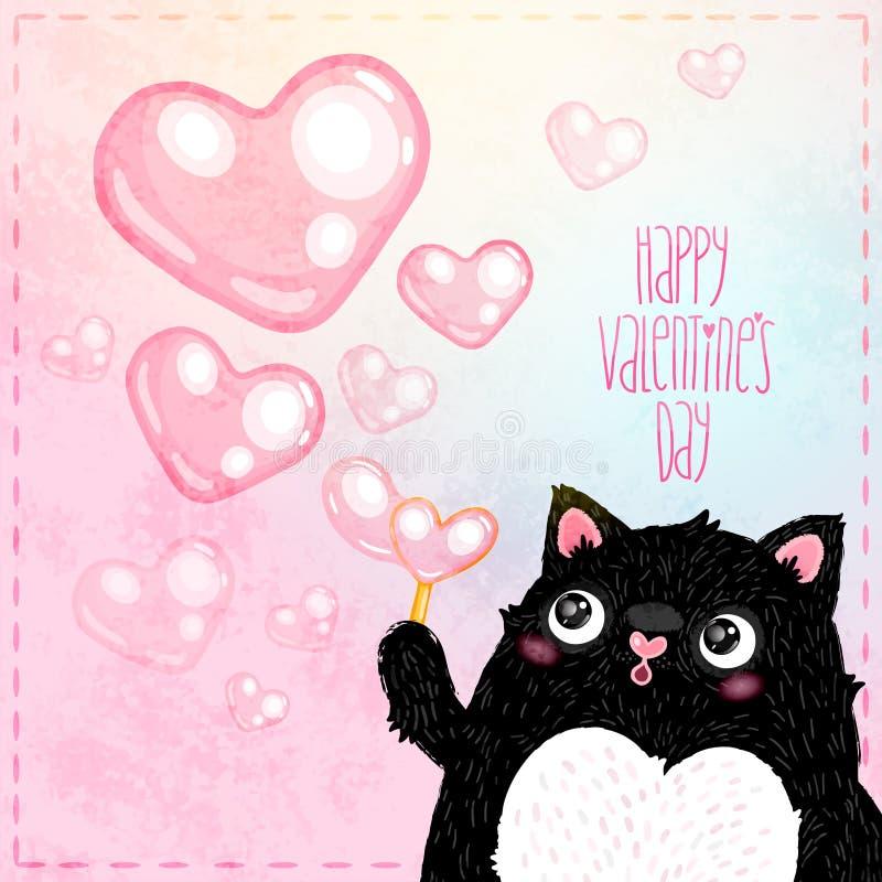 Carte heureuse de jour de valentines avec le chat illustration de vecteur