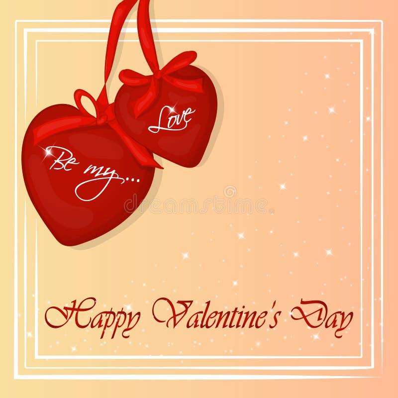Carte heureuse de jour du ` s de Valentine avec deux coeurs Fond pour le jour du ` s de Valentine Carte de voeux dans le style de illustration stock