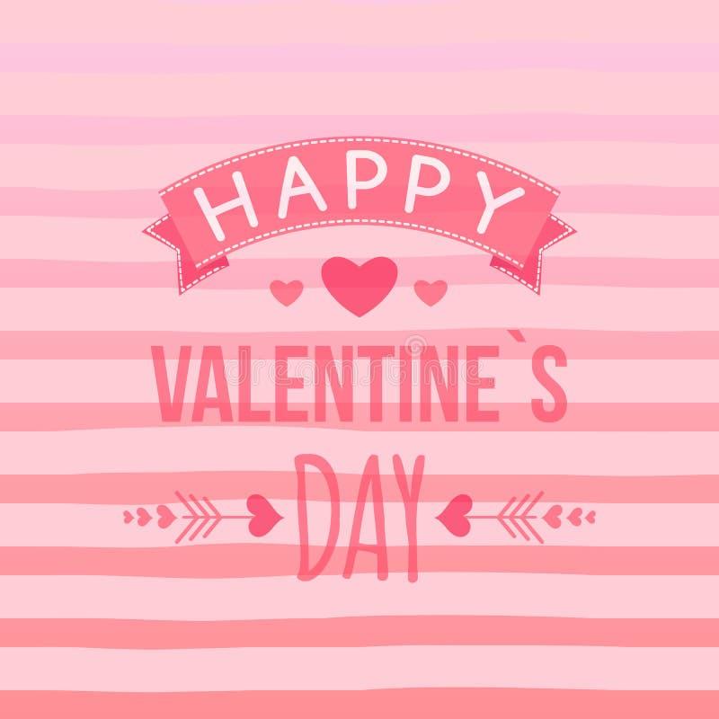 Carte heureuse de jour du ` s de Valentine avec les éléments tirés par la main, coeur, ruban, flèche, rayure Vecteur mignon de ty illustration stock