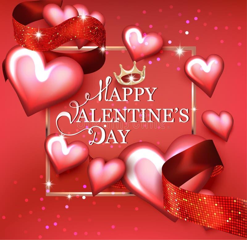 Carte heureuse de jour du ` s de Valentine avec des coeurs, des rubans et le cadre d'or illustration libre de droits
