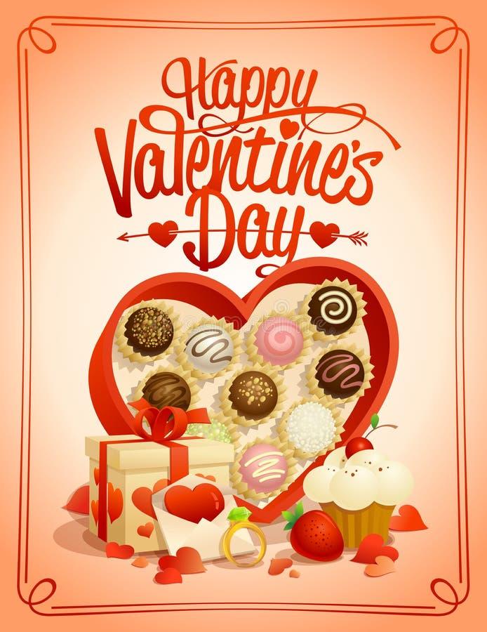 Carte heureuse de jour du ` s de Valentine avec la boîte de chocolats illustration libre de droits
