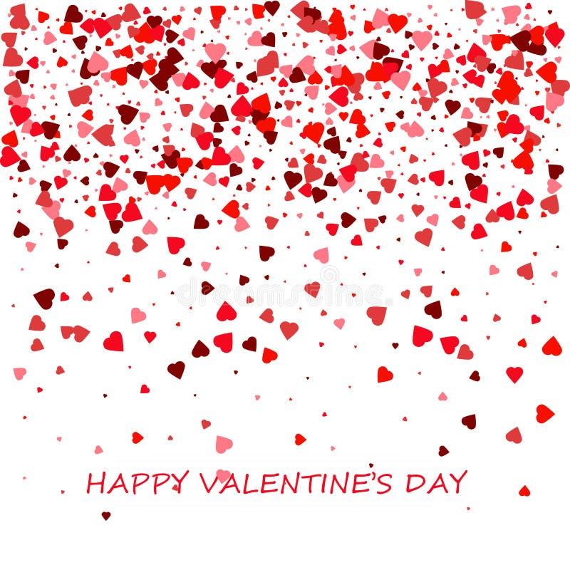 Carte heureuse de jour du `s de valentine Composition romantique avec des confettis des coeurs Beau fond avec des coeurs sur un b illustration de vecteur