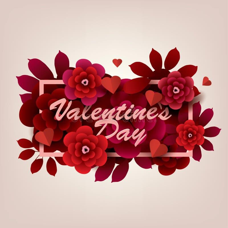 Carte heureuse de jour du `s de valentine Inscription avec des fleurs dans un cadre illustration de vecteur