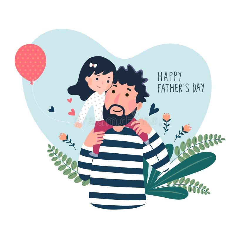 Carte heureuse de jour de father's Mignon petite fille sur son épaule de father's dans en forme de coeur illustration stock