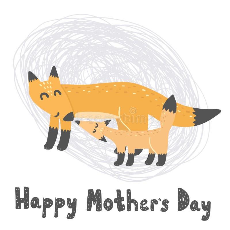 Carte heureuse de jour de Mother's avec les renards mignons illustration stock