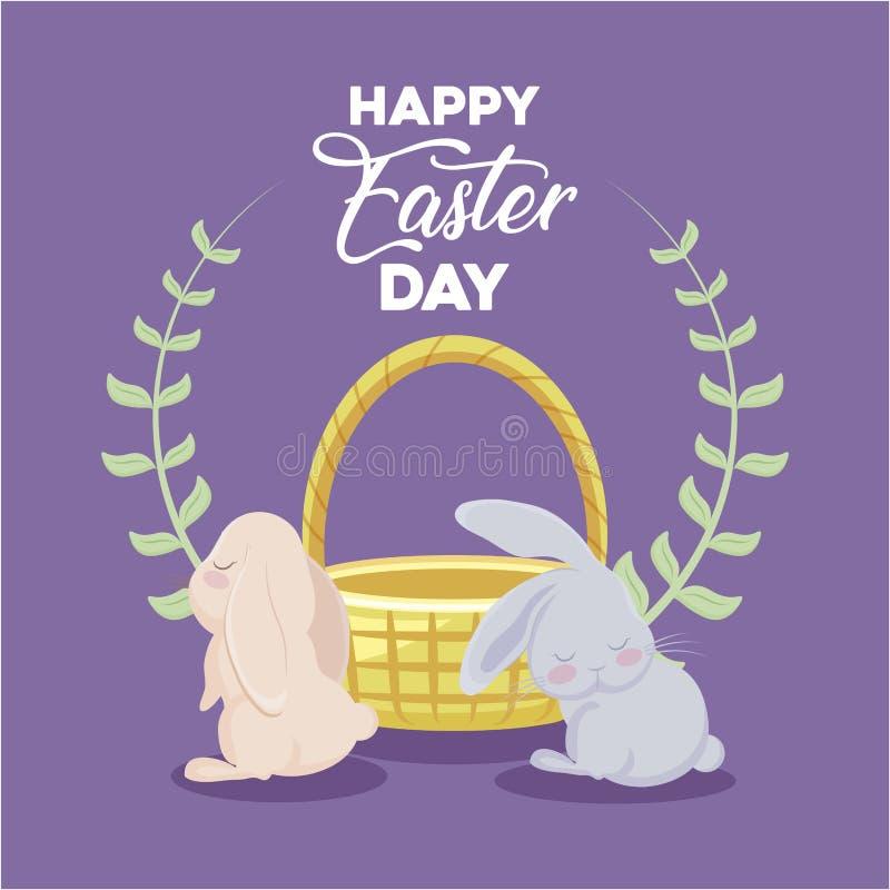 Carte heureuse de jour de Pâques avec les lapins et l'osier mignons de panier illustration stock