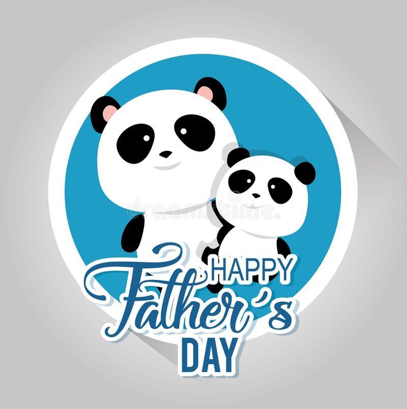 Carte heureuse de jour de pères avec des ours panda illustration libre de droits