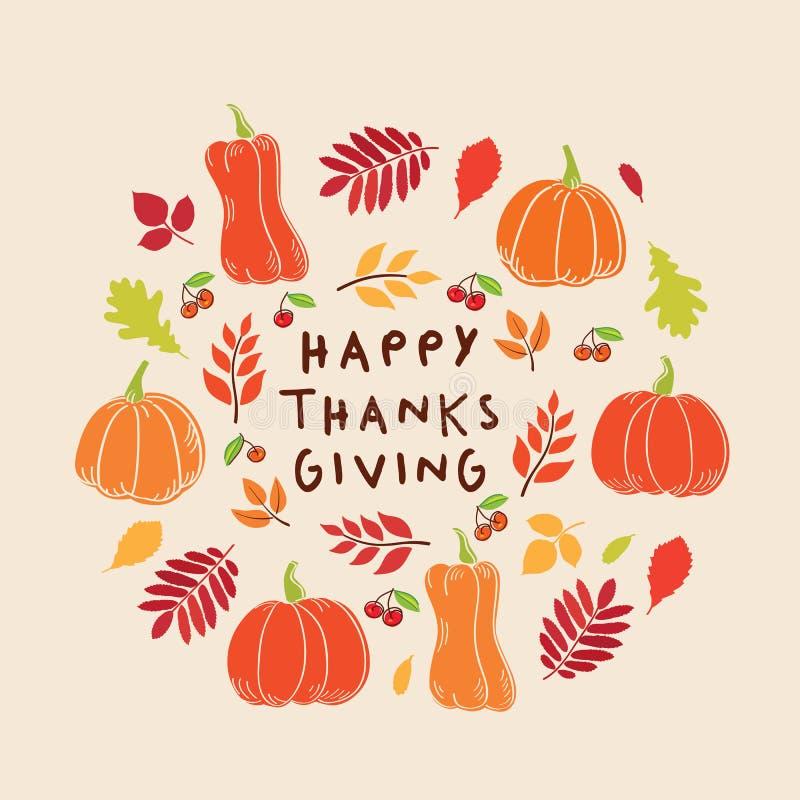 Carte heureuse de jour de thanksgiving Fond avec des feuilles, des potirons et des baies d'automne illustration de vecteur