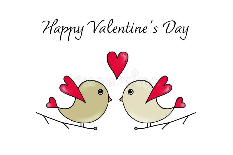 Carte heureuse de jour de valentines avec des oiseaux d'amour illustration libre de droits