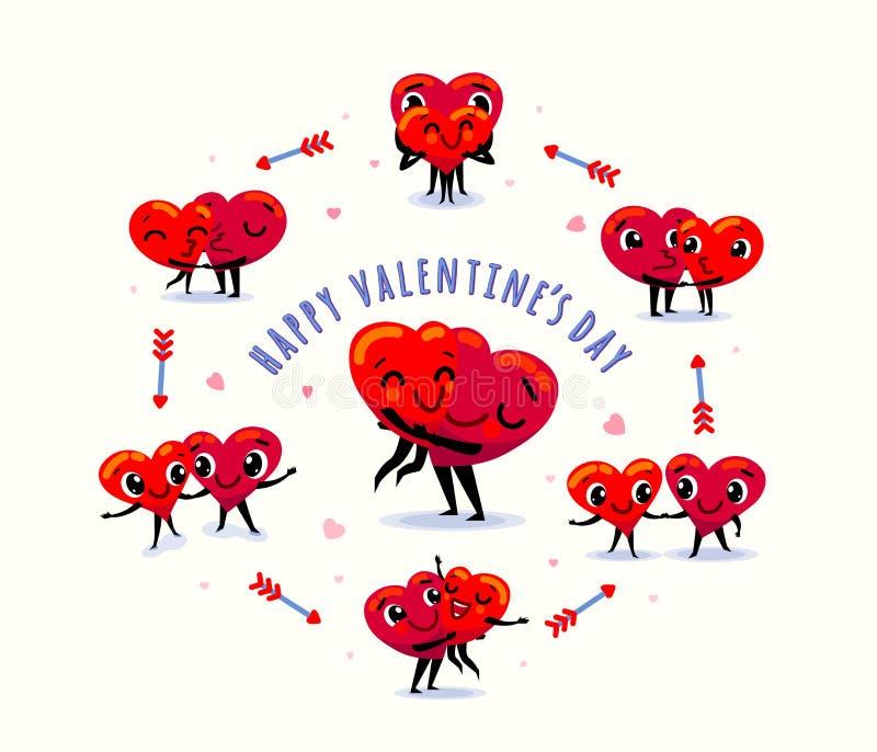 Carte heureuse de jour de valentines Couples dans l'amour Scènes avec deux coeurs drôles de bande dessinée illustration stock