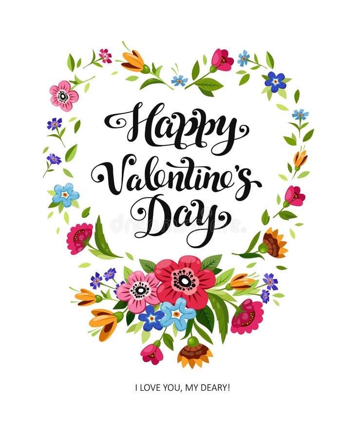 Carte heureuse de jour de valentines Lettrage élégant dans le cadre floral Cadre de coeur de vecteur illustration libre de droits