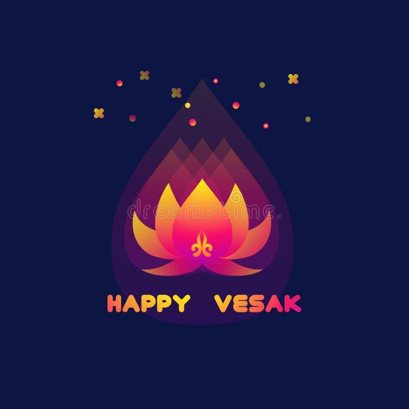 Carte heureuse de jour de Vesak avec le lotus Fond de Bouddha Purnima illustration libre de droits