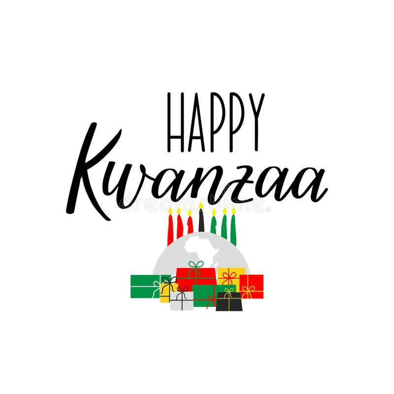 Carte heureuse de Kwanzaa lettrage Illustration de calligraphie illustration de vecteur