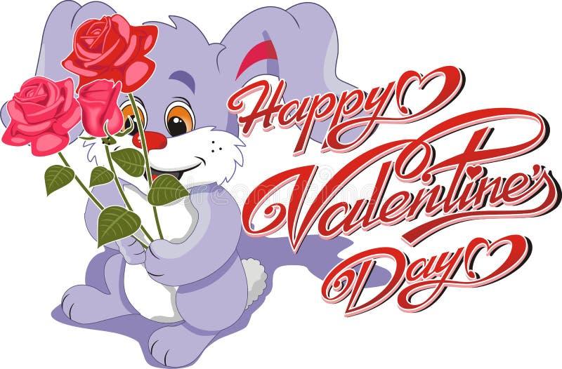 Carte heureuse de Saint-Valentin - bouquet de Bunny With A des roses et de l'inscription sur le fond blanc illustration libre de droits