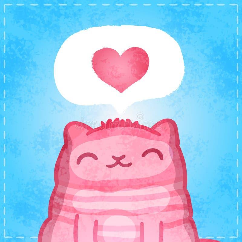 Carte heureuse de valentines. Chat mignon avec le coeur. illustration stock