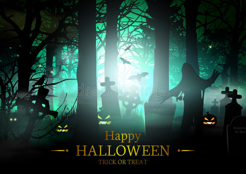 Carte heureuse de vecteur de Halloween illustration stock