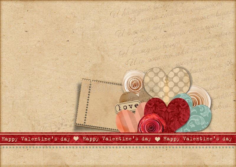 Carte heureuse des Valentines Day.Retro illustration libre de droits