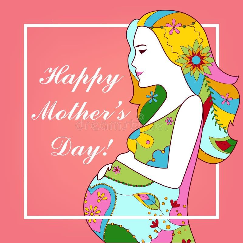 Carte heureuse du jour de mère illustration de vecteur