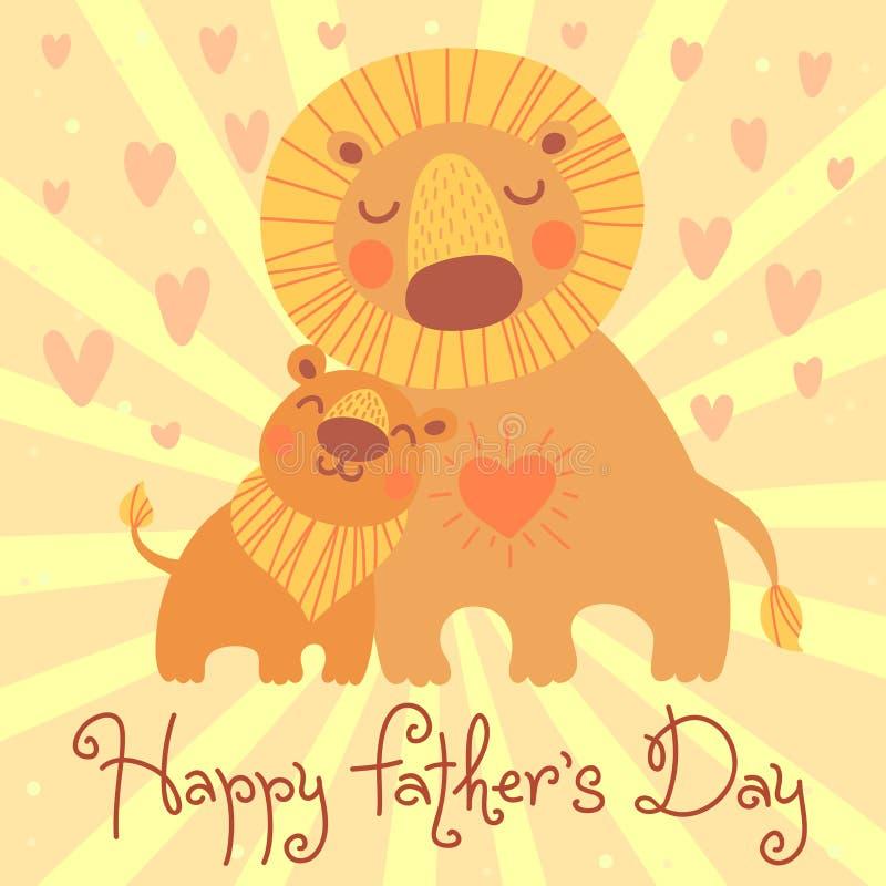Carte heureuse du jour de père. Lion et petit animal mignons. illustration de vecteur