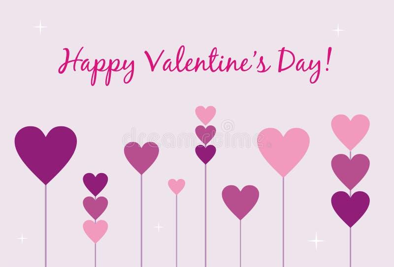 Carte heureuse du jour de Valentine illustration de vecteur