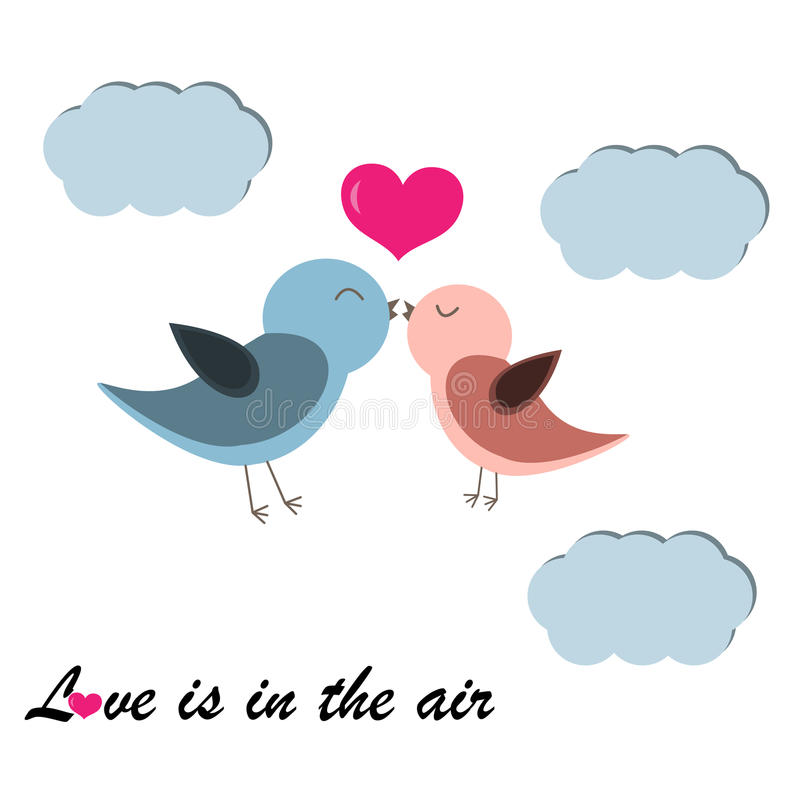 Carte heureuse du jour de valentines avec l'oiseau illustration libre de droits