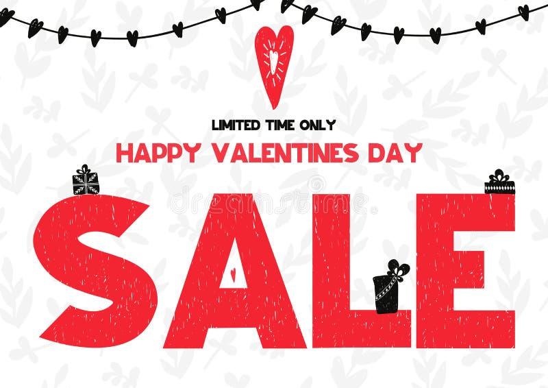 Carte heureuse limitée de vente de jour de valentines de temps seulement Illustration de vecteur dans le style scandinave illustration stock