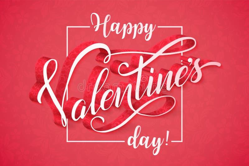 Carte heureuse romantique de calligraphie de jour de valentines offre illustration libre de droits