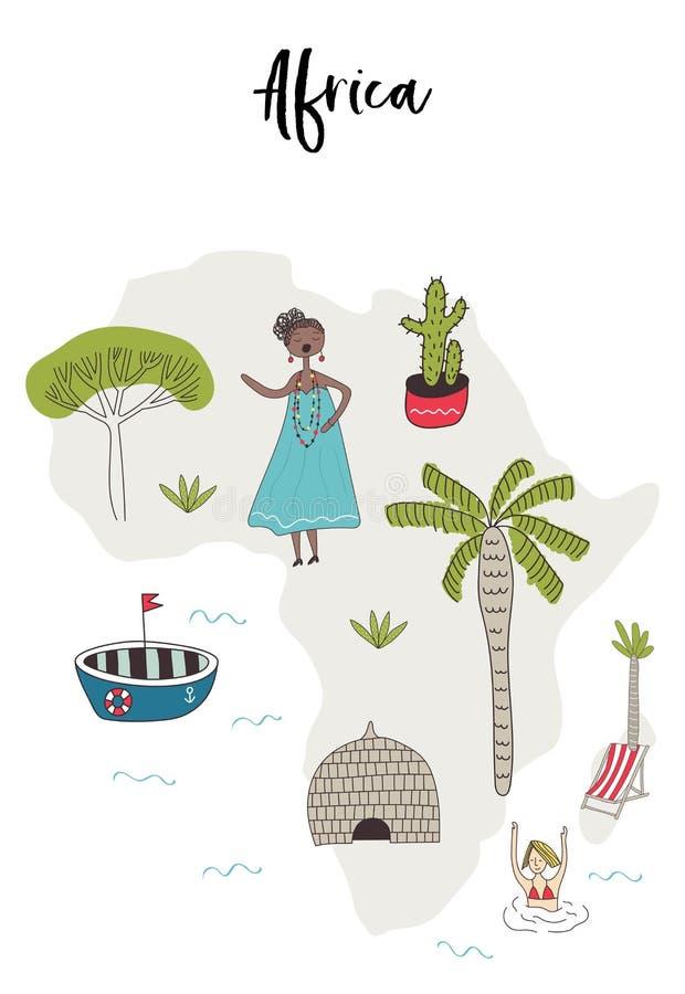Carte illustrée de l'Afrique avec les caractères tirés par la main d'amusement, les usines locales et les éléments Illustration d illustration stock