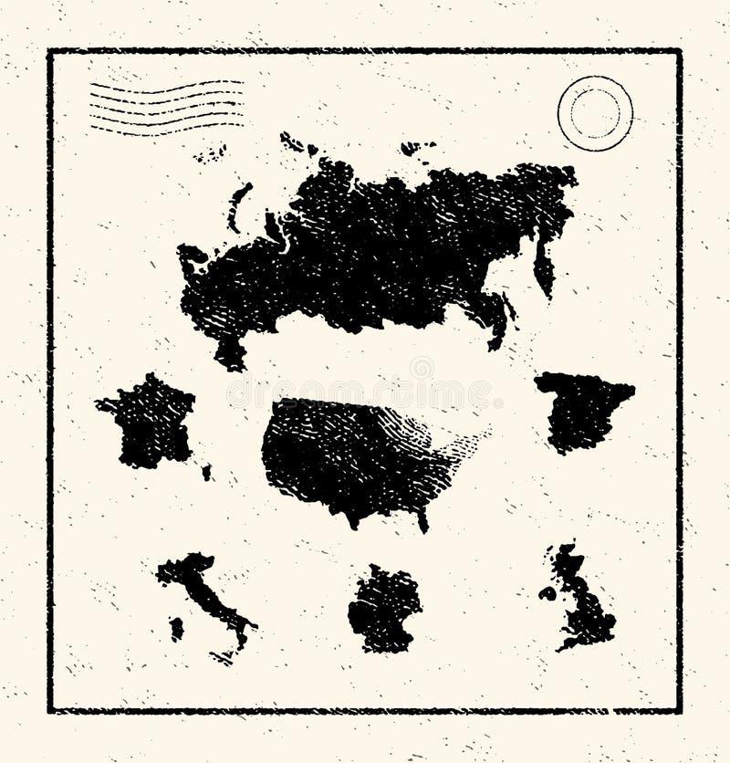 Carte illustrée par vecteur du monde illustration stock